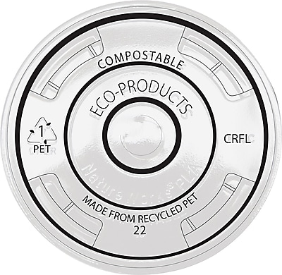 Eco-Products® Recycled Content Plastic Cold Cup Lid, Clear, 1000/Carton
