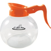 Coffee Pro ® 12 Cup Orange Plastic Handle Replacement Coffee Decanter for Decaffeinated Coffee, Glass