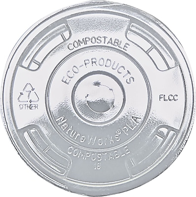 Eco-Products ® Compostable Corn Plastic Cold Cup Lid, Flat Shape, Clear, 1000/Carton