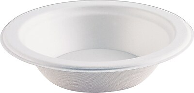 Eco-Products ® Compostable Sugarcane Bowl, 12 oz., Natural White, 1000/Carton