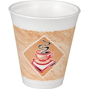 Dart ® Cafe G Foam Hot/Cold Cup, 8 oz., White with Brown/Green, 1000/Carton