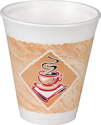 Dart® Cafe G Foam Hot/Cold Cup, 8 oz., White with Brown/Green, 1,000/Ct