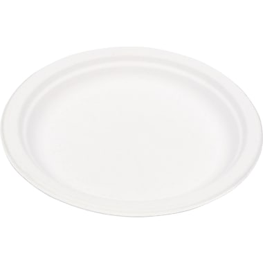 Eco-Products® Compostable Round Sugarcane Plate, 9in.(Dia), Natural White, 50/Pack