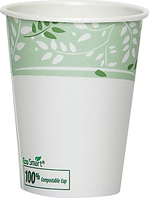 Dixie Viridian Paper Hot Cup with PLA lining, 8 oz., White/Green, 1000/Carton