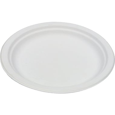Eco-Products® Compostable Round Sugarcane Plate, 6in.(Dia), Natural White, 50/Pack