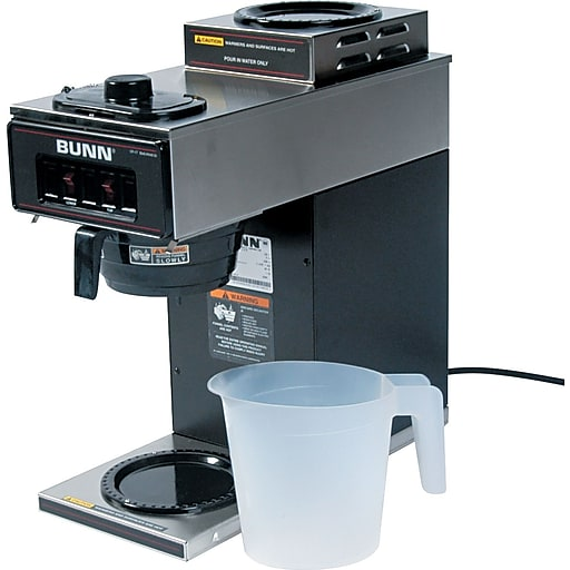 Bunn® 12 Cup Two-Station® Commercial Pour-O-Matic® Coffee Brewer, Stainless Steel, Black (BUNVP172BLK)