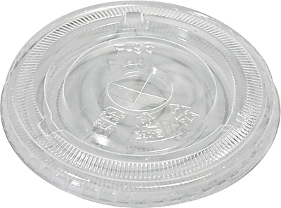 NatureHouse Corn Plastic Compostable Cold Cup Lid for 10-16 oz. Cold Cups, Flat Shape, Clear SVAFK09