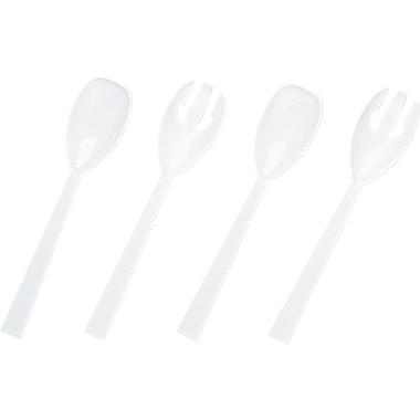 Tablemate ® Plastic Serving Fork and Spoon, White, 9 1/2