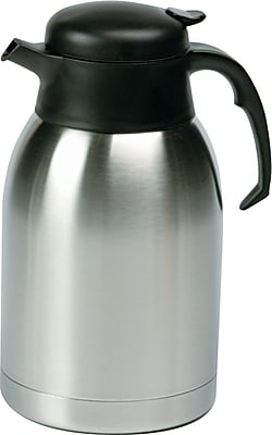 Hormel Satin Finish Stainless Steel Vacuum Coffee Carafe, 1.9 Liters, Black Trim