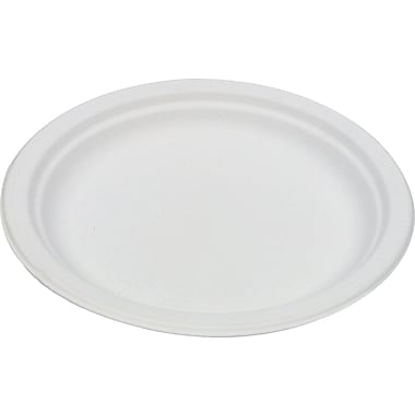 Eco Products  Compostable Round Sugarcane Plate, 6in.(Dia), Natural White, 1000/Carton