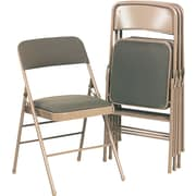 Bridgeport Deluxe Fabric Padded Seat And Back Folding Chair, Cavallaro Taupe
