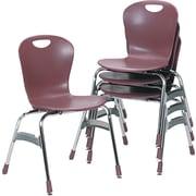 "Virco  Plastic Ergonomic Stack Chair With 18"" High Zuma Bucket Seat, Wine"