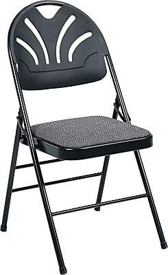 COSCO Bridgeport Fanfare Fabric Padded Seat Deluxe Molded Back Folding Chair,  Kinnear Black | Staples