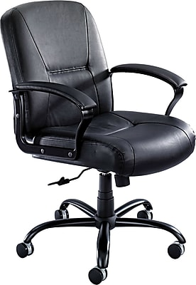 Safco® Serenity 24 Hour Big & Tall Mid Back Chair, Leather, Black, Seat: 21 1/2