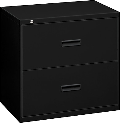 "HON Lateral File, 2 Drawers, Molded Pull, 36""W, Black Finish (BSX482LP)"