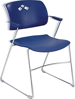 Safco® Veer? Stacking Chair With Arms And Sled Base, Blue/Chrome