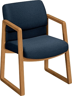 HON® 2400 Series Fabric Sled Base Guest Chair, Blue/Harvest (HON2403CAB90)