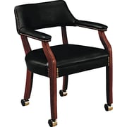 HON® Traditional Wood Seating 6550 Glove-Soft Vinyl Guest Arm Chairs With Casters