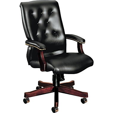 HON® HON6541NEJ10 6540 Series Vinyl Executive High-Back Chair with Fixed Arms, Black /Mahogany