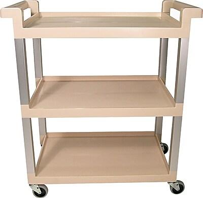 Rubbermaid Three-Shelf Service Cart with Brushed Aluminum Uprights