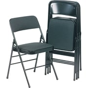 Bridgeport Deluxe Fabric Padded Seat And Back Folding Chair, Cavallaro Black