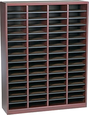 Safco E-Z Stor® Wood Literature Organizer, 60 Compartments, Mahogany, 53 1/4