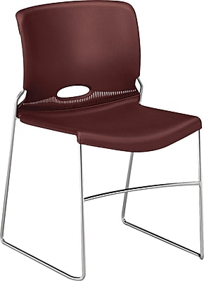 HON Olson - 4040 Series Stacking Chair, Plastic, Mulberry, Seat: 17 3/4