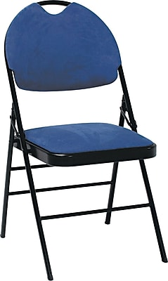 Bridgeport XL Fanfare Fabric Deluxe Folding Chairs, 4/Pack,Navy 768640