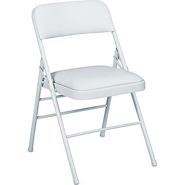 Bridgeport™ Vinyl Deluxe Padded Folding Chairs, 4/Pack,Light Gray