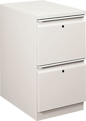 "HON® Flagship® 2 Drawer File Cabinet, Mobile, Light Gray, 22""D (H18823RLQ)"