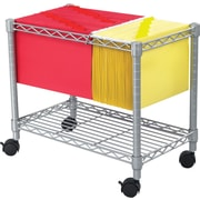 "Safco® ® 24""D 1-Shelf Wire Mobile File Cart, Metallic Grey"