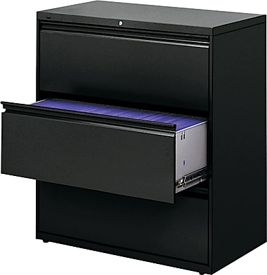 HON Brigade 800 Series 3 Drawer Lateral File, Black,Letter/Legal, 36''W (H883LP)