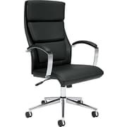 basyx® VL105 Executive High-Back Leather Chair, Genuine Leather, Padded Loop, Black (VL105SB11)