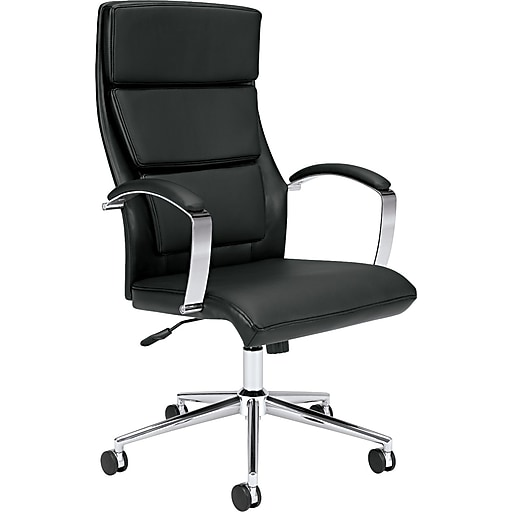 HON High-Back Executive Chair, Center-Tilt, Polished Aluminum, Black SofThread Leather (HVL105SB11.COM)