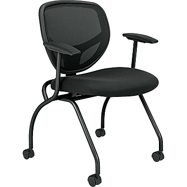 basyx by HON VL301 Series Nesting Chairs w/ Arms, Mesh/Fabric, Black, Seat: 18 7/8