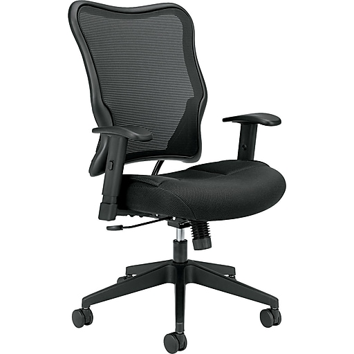 HON Wave Mesh High-Back Task Chair, Synchro-Tilt, Adjustable Arms, Black Sandwich Mesh Seat (HVL702MM10.COM)