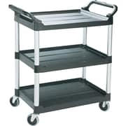 "Rubbermaid ® 37 3/4""H x 18 5/8""W x 33 5/8""D Economy Plastic Cart, Black"