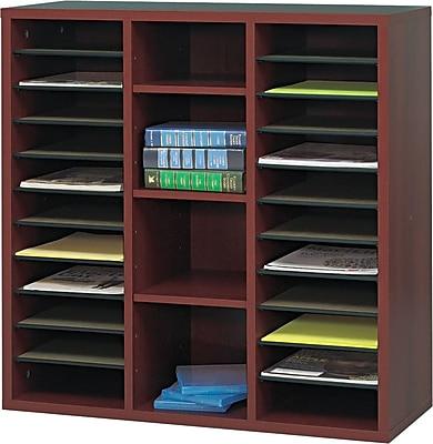 """Safco Après™ Modular Literature Organizer, 26 Compartments, Mahogany, 30""""H x 30""""W x 12""""D"""