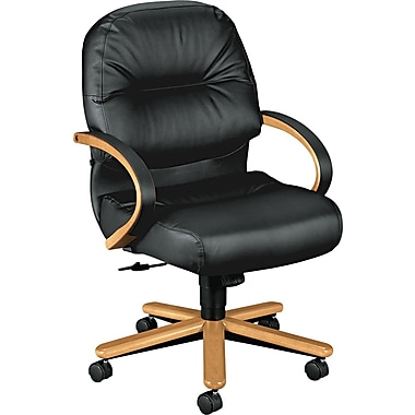 HON® 2190 Pillow Soft® Managerial Mid Back Genuine leather/Memory Foam Chair, Black