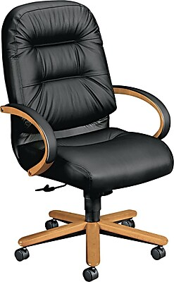 "HON® Pillow-Soft® 2190 Series Exec High-Back Chair, Leather, Seat: 22""W x 21""D, Back: 23-1/2""H x 22""W, Harvest Oak/Blk"
