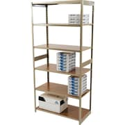 "Tennsco Heavy-Duty Rolled Steel Regal Shelving Starter Set, 6 Shelves, 18""(D)"