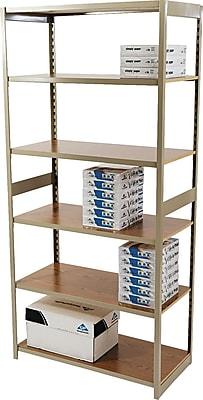 Tennsco Heavy-Duty Rolled Steel Regal Shelving Starter Set, 6 Shelves, 18
