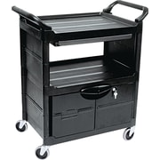 "Rubbermaid® 18 5/8""(D) Commercial Utility Cart With Locking Doors, Black"