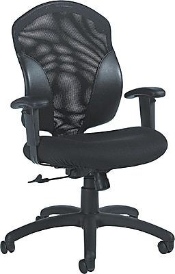 Global Total Office Leather Computer and Desk Office Chair, Adjustable Arms, Black (19514)