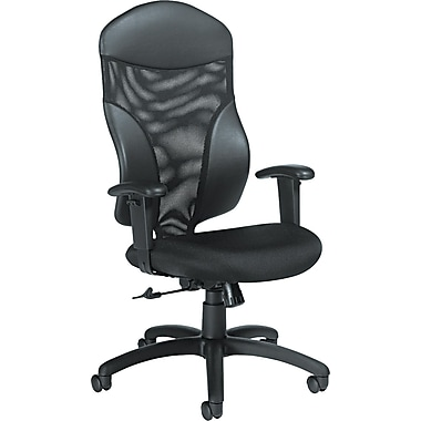 Global Total Office Leather Computer and Desk Office Chair, Adjustable Arms, Black (19504)