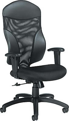 GIS Global Tye™ Series High-Back Chair, Fabric/Faux Leather, Black, Seat: 21