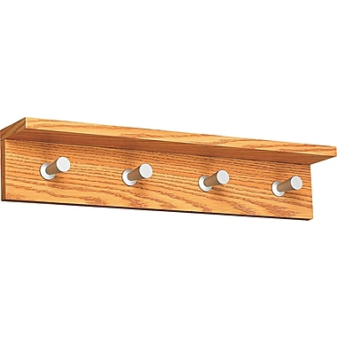 Safco Satin Aluminum 4 Hook Wood Wall Rack, Medium Oak, 1 Each