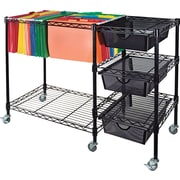 "Advantus 15 1/2""D 3 Drawer Mobile File Cart With Drawers, Black"