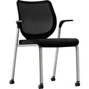 HON® Nucleus® Mesh Back Stacking Chair, Black/Platinum Metallic (HONN606NT10T1)