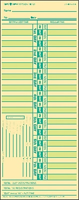 Tops® Time Card for Lathem, Bi-Weekly, Two-Sided, 3-1/2 x 9, 500/Box